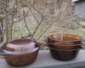 Four Small Vintage Fire King/Anchor Hocking  Casserole Dishes - Golden Brown
