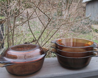 Four Small Vintage Fire King/ Anchor Hocking  Casserole Dishes - Golden Brown