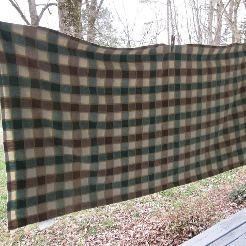 Vintage Woven Cotton Shower Curtain Brown Green Beige Plaid