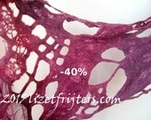 RESERVED for Lori - 40% off - SALE Maroon  Freeform Lace Felt Summer Shawl