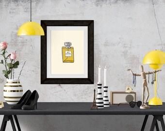 Chanel N.5 Perfume Fashion Illustration Art Poster