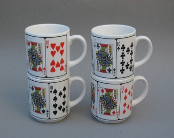 Playing Card Mugs Vintage Poker Hand Coffee Mugs Royal Flush Set of Four Japan