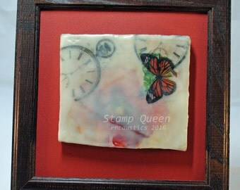 Timeless Poppies 1 - encaustic wax painting