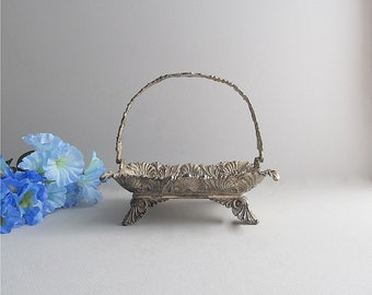 Vintage Silver Plate Basket, Ornate Metal Basket, Victorian Basket