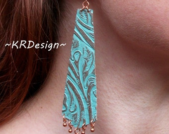 Turquoise-Textured Leather-Copper-Dangle-Earrings / Free US Shipping