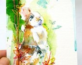 Rabbit Watercolour. Bunny Watercolour Painting with Embroidery. Bunny Gift. Rabbit Art. Bunny Rabbit