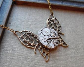 75% Off Sale- Gossamer Wings, Steampunk Necklace