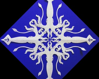 Squid Snowflake DIY Template. Learn to fold and cut out your own snowflake!