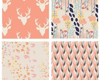 BUNDLE - Hello Bear - Meadow - Art Gallery Fabrics - Bonnie Christine - Leah Duncan - Deer Heads Antlers Peach Coral Navy