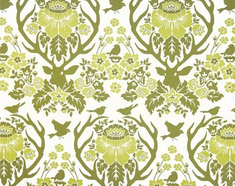 Antler Damask in Sage - Birch Farm - FreeSpirit - Joel Dewberry - Woodland Quilting Fabric - Birds Deer Head Antlers Green