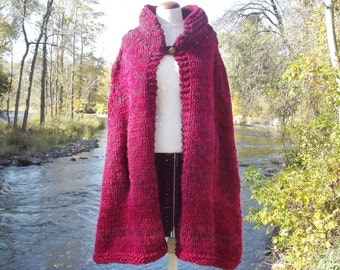 Chunky knit cape women medium large extra large in ombre cranberry red with convertible collar