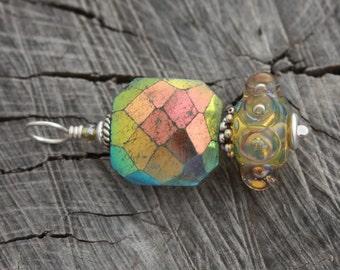 Titanium Labradorite Lampwork Flashy Pendant Rare