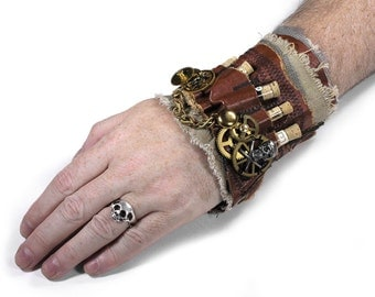 Steampunk Cuff APOTHECARY LEATHeR Wrist Cuff Cork Vials Chains GEaRS Mesh SkULL Coils Steam Punk Cuff - Steampunk Clothing by edmdesigns