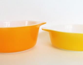 Vintage Pyrex Bowls Set of Two Yellow and Orange
