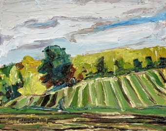 """Art Original Small Plein air Landscape Oil Painting Impressionist Appalachian Quebec Canadian Fournier """"A Fall day In The Townships"""" 10 x 12"""