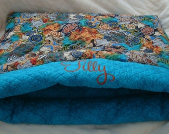 Dog Beds - Quilted Cotton Sacks - Dog Bed - Cat Sack - Pets - Dog Sacks - Includes Embroidered Personalization