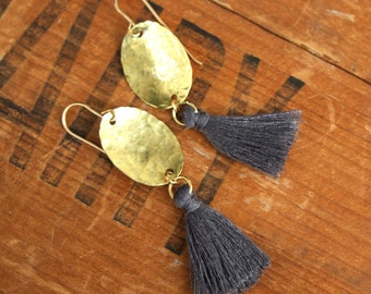 Maris Tassel Earrings, Hammered Brass Drop with Gray Silk Tassel