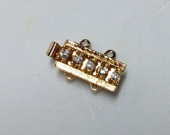 CLSP169GP 2 Strand Clasp Gold Plated with 5 crystals Elegant Elements