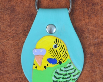 Key Fob with Yellow and Green Parakeet