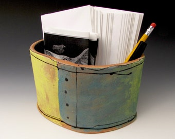 """Desk container, colorful handmade from clay, one of a kind artwork, 7"""" wide x 4.75"""" tall"""