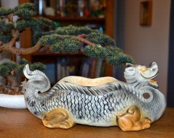 "Vintage ceramic dragon planter, 12"" long. Orchid or air plant holder"