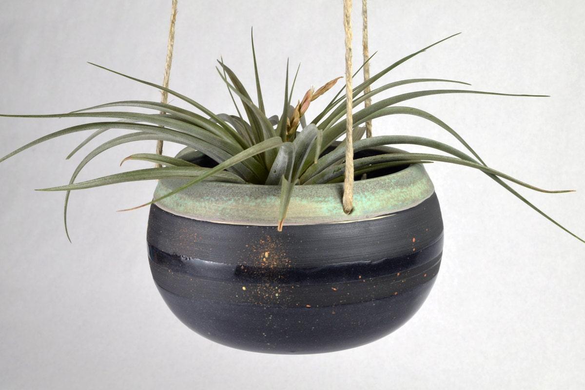 handmade ceramic hanging planter indoor hanging planter. Black Bedroom Furniture Sets. Home Design Ideas