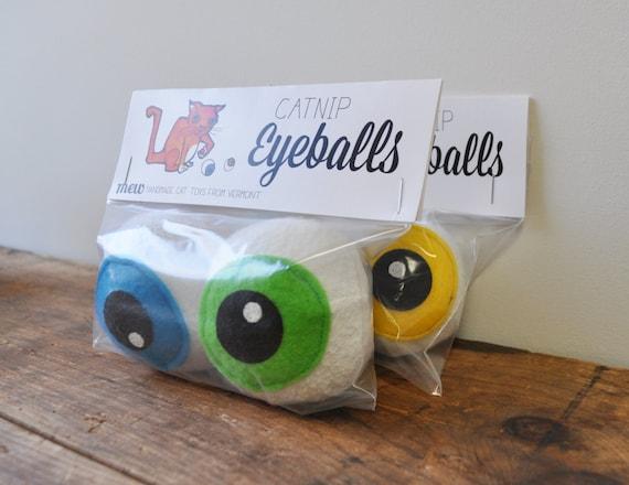 Catnip eyeballs cat toy ball plush recycled materials
