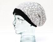 Gray Leopard Print Slouchy Beanie Hat