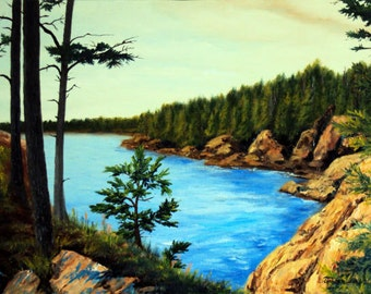 Down East Ocean Coast Maine Nature Oil Painting