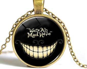 Cheshire cat pendant charm bronze  dish with glass dome loop at top  (drw76) Alice in Wonderland all mad here