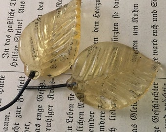 vintage glass leaves pressed  yellow large (AAA6) lamp repair, jewelry supplies findings