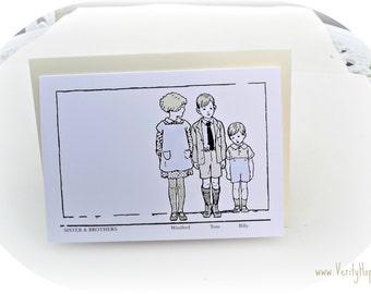 Antique vintage children inspired blank greetings card