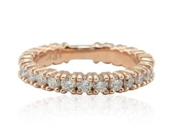Diamond Wedding Band - Statement Wedding Ring with Large Diamonds in 14k Rose Gold - LS4577