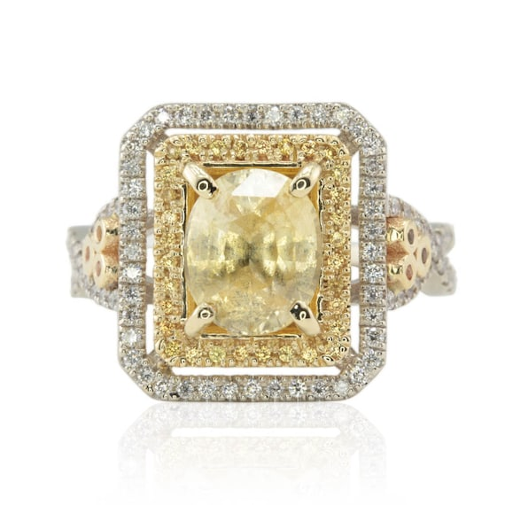 Oval Engagement Ring, Twisted Shank Yellow Sapphire Ring with Yellow Sapphire & Diamond Double Halo - LS1373