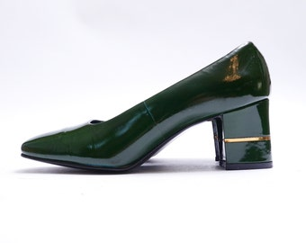 Vintage Forest Green Patent Leather Pumps //  Chunky Medium Heel //  7B size