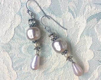 Mystic Pearl Earrings Baroque Boho Bride Victorian OAK Jewelry Pearl Drop Earrings Gothic Ornate