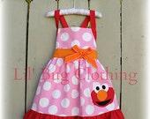 Elmo Birthday Dress, Toddler Dress, Bubble Gum Pink, Girl Summer Dress, Polka Dot Dress,