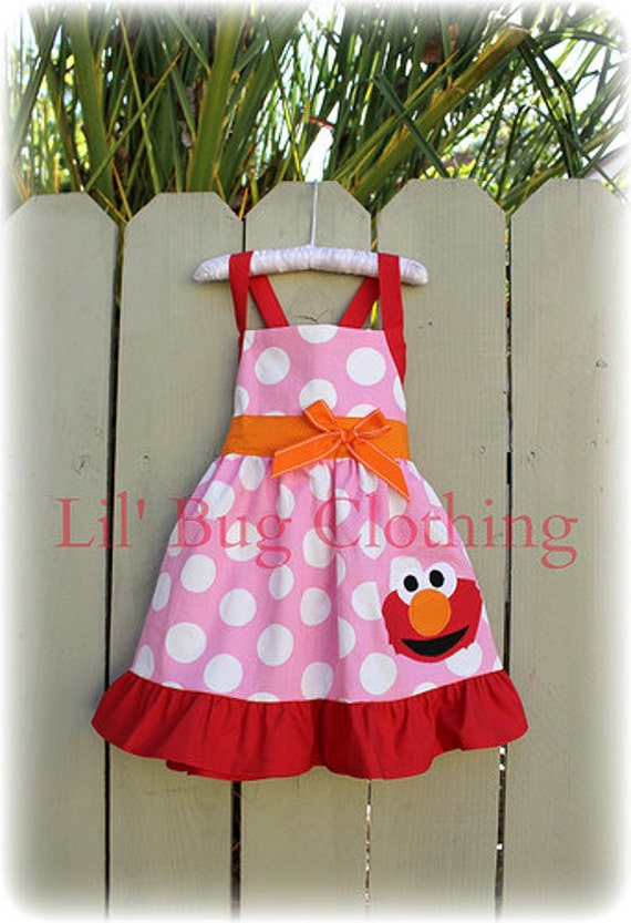 Elmo Birthday Dress Toddler Dress Bubble Gum Pink Girl