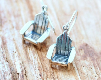 Camper Earrings, Dock Chair Earrings, Gift for Camper, Lakehouse, At the Lake, Sterling Silver Charm Earrings, Hostess Gift, Fun Jewelry