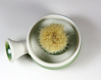 Handmade Shaving Mug in Green and White - Grooming Kit for Him - Lather Bowl with brush