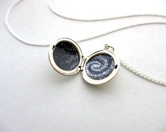 Spiral Galaxy Tiny Oil Painting in Sterling Silver Locket - One of a Kind Miniature