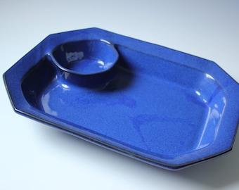 Large cobalt blue Danish ceramic divided platter - serving tray / modern Danish pottery