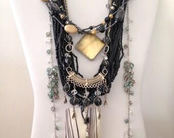 Black Necklace 7 Necklaces 10 Earrings 2 Bracelets Boho Vintage Gypsy Jewelry Lot BLKW *