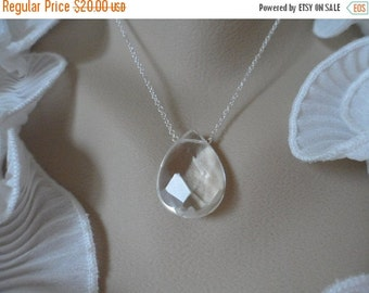 ON-SALE Beautiful Clear Quartz Necklace and Sterling Silver - Mothers Day Gifts, Birthday Gifts and Bridesmaids Gifts, Flower Girls