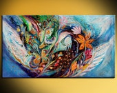 The Flowers and Sea: original Jewish art enormous painting with blessings of good luck, health, fertility and success from Israeli artist