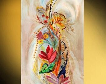 "Flowers of Holy Land 52"" Original acrylic painting on canvas, Luxury thick layers Splash of Life, Large size painting, by Elena Kotliarker"