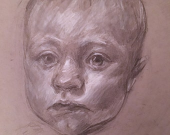 Child Portrait on Toned Gray Paper
