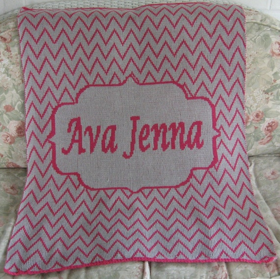 Personalized Knit Chevron Blanket