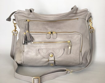 4 pocket Willow bag in cement grey - work bag - computer bag