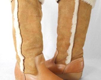 vintage 1970 SHERPA SHEEPSKIN leather OTK platform boots size 9